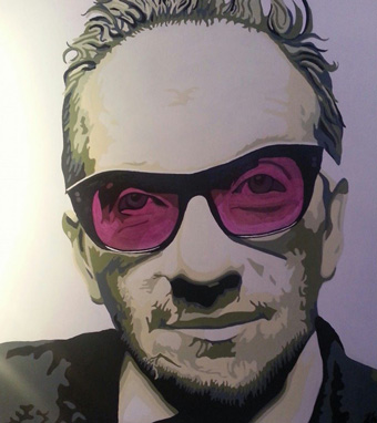 Portrait of Elvis Costello at the Rock-n-Roll Christmas Exhibit at Night Gallery