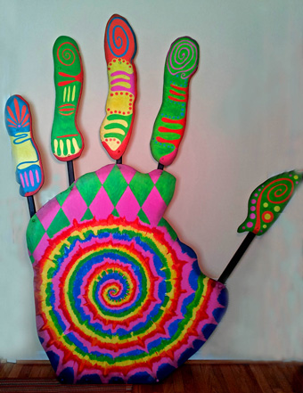 WLAST 10th Anniversary Hand sculpture, painted by Mary Champion